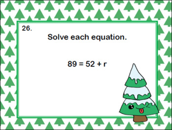 Solving Equations Using All Four Operations- Grade 6 Algebra-Task Cards-Trees