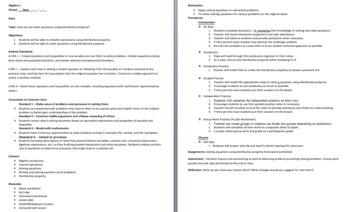 Solving Equations Using Distributive Property (English & Spanish)