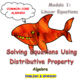 Solving Equations Using Distributive Property (English & Spanish)