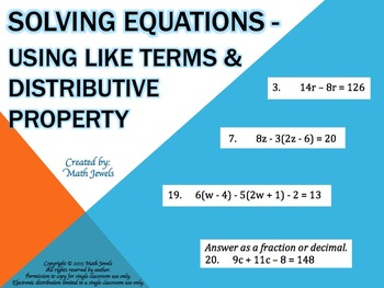 Solving Equations - Using Like Terms and Distributive Property