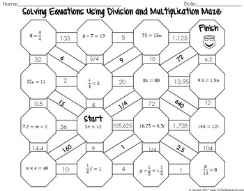 Solving Equations Using Multiplication and Division Maze
