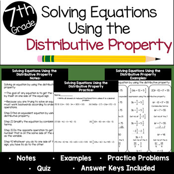 Solving Equations Using the Distributive Property