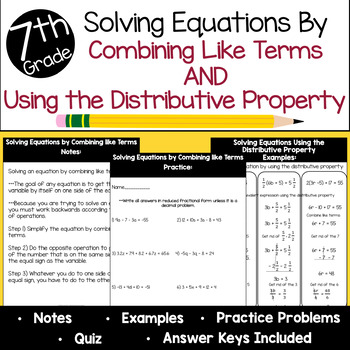 Solving Equations Using the Distributive Property & Combining Like Terms Bundle