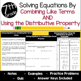 Solving Equations Using the Distributive Property & Combin