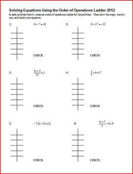 Solving Equations Using The Order Of Operations Ladder With Answer