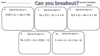 Solving Equations (Variable on Both Sides) – Two Breakout Activities!