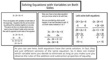 Solving Equations (Variables On Both Sides)