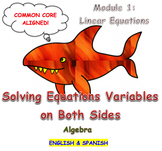 Solving Equations Variables on Both Sides (English & Spanish)