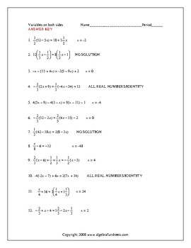 Solving Equations with Variables on Both Sides (Advanced) Worksheet