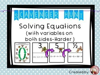 Solving Equations (Variables on Both Sides - Harder) Scavenger Hunt