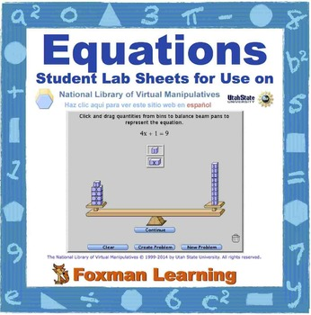 Solving Equations -- Virtual Manipulatives Lab for Middle School Math CCSS