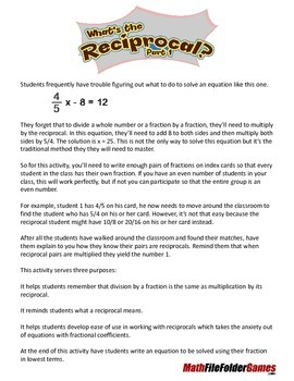 Solving Equations - What's the Reciprocal Part 1
