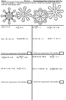 Solving Equations Winter Coloring Activity By Math Dyal Tpt