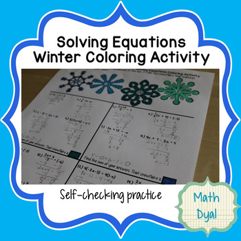 Solving Equations Winter Coloring Activity