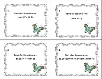 Solving Equations With Decimals-Addition and Subtraction-40 Task Cards