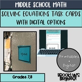 Solving Equations With One Variable Task Cards Distance Le