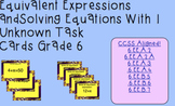 Solving Equations With One Variable Task Cards