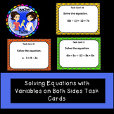 Solving Equations With Variables on Both Sides Task Cards