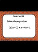 Solving Equations With Variables on Both Sides Task Cards Google Activity