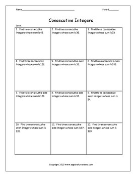 Consecutive Integer Word Problems Worksheet | Teachers Pay ...