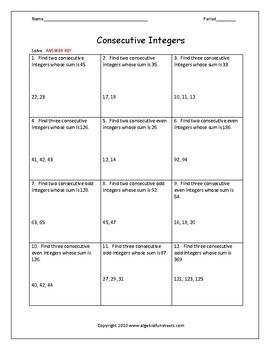 Solving Equations Word Problems (Consecutive Integers)