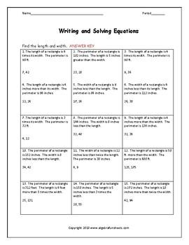Solving Equations Word Problems (Perimeter)