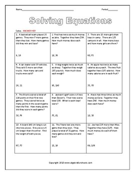Solving Equations Word Problems