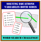 Solving Equations with variables on both sides WORD SEARCH!