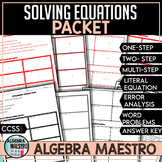 Solving Equations Worksheet Packet