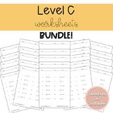 Solving Equations Worksheets Level C Bundle