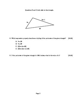 Solving Equations and Inequalities Algebra Assessment