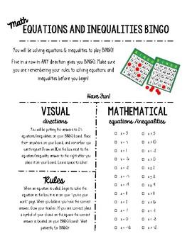 Solving Equations and Inequalities BINGO