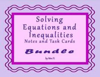 Algebra 1 Solving  Equations and Inequalities Bundled Notes & Task Cards