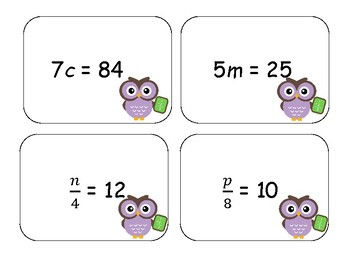 Solving Equations and Inequalities Card Activity