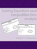 Solving Equations and Inequalities Error Analysis