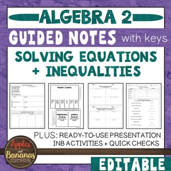 Solving Equations and Inequalities - Interactive Notebook Activities