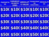 Solving Equations and Inequalities Jeopardy®