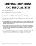 Solving Equations (and Inequalities) Review Game - Two Versions