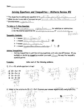 Solving Equations and Inequalities Review - notes and practice