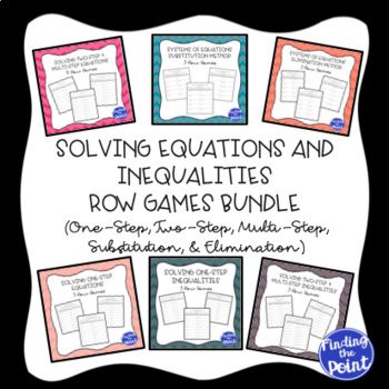 Solving Equations and Inequalities Row Games Bundle