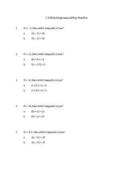 Solving Equations and Inequalities (TEK 7.11B)