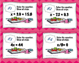 Solving Equations and Inequalities Task Cards