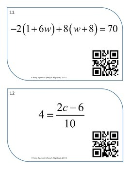 Solving Equations and Inequalities Task Cards with QR Codes