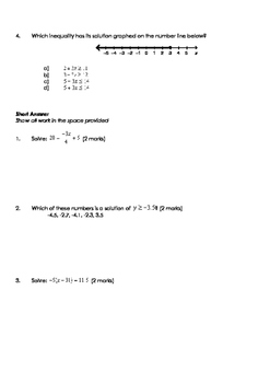 Math 9: Solving Equations and Inequalities Test - Includes FULL SOLUTIONS