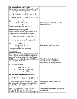 Solving Equations and Inequalities with Variables (7 Math) Lessons