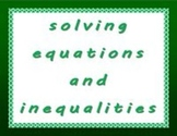Algebra 1 - Solving Equations and Inequalities - Lesson Bundle