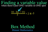 Solving Equations by BOX METHOD