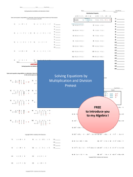 Solving Equations by Multiplication or Division Pretest FREE