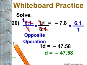 (7th) Solving Equations by Multiplying and Dividing in a PowerPoint