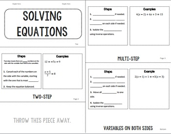 Solving Equations flip book foldable Multi Step Variables on Both Sides